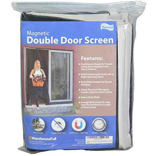 Fenestrelle Magnetic Screen Double Door - Fits Doors Up To 70'W x 80'H - White Trim - For French and Sliding Doors - Super Tight Self Closing Magnetic Seal - Heavy Duty Flame Resistant Fiberglass Mesh