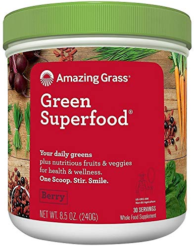 Amazing Grass Green Superfood: 7 Super Greens Powder, 2 servings of Fruits & Vegetables per scoop, Berry Flavour, 30 Servings