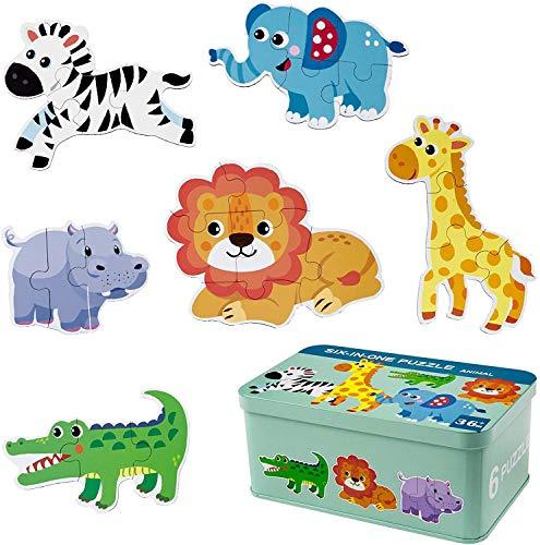 Comius Sharp Puzzle de Madera, 6 Pack Rompecabezas Puzzle Juguetes Bebes para Niños de 1 2 3 4 5 Años Montessori Educativos Regalos 3D Patrón Puzles con Caja de Rompecabezas de Metal (Animal)
