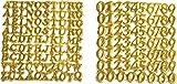 158-tlg. Wachszahlen und Buchstaben Set Kerzen basteln selbstklebend Taufe Kirche Hochzeit in Gold oder Silber Gold