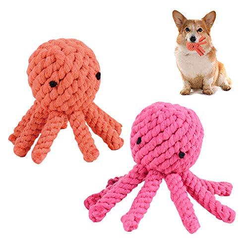 TDCQ 2pcs Juguetes Perros Cachorros para Morder,Juguetes Perros Cachorros Pequeños,Juguetes para Perros Cachorros Dientes,Juguete para Perros Cachorros,Juguetes para Masticar Perros (Pulpo)