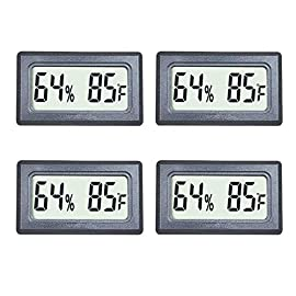 Veanic 4-Pack Mini Digital Thermometer Hygrometer Meters Gauge Indoor Large Number Display Temperature Fahrenheit (℉) Humidity for Home Office Humidors Jars Incubators Guitar Case 7 Mini Digital Humidity Thermometer allows you to easily know the environment temperature and humidity around you 2in1 meter with built-in probe; digital electronic thermometer and hygrometer for measuring temperature and humidity for indoor use Fahrenheit (°F) display, this thermometer displays temperature in Fahrenheit
