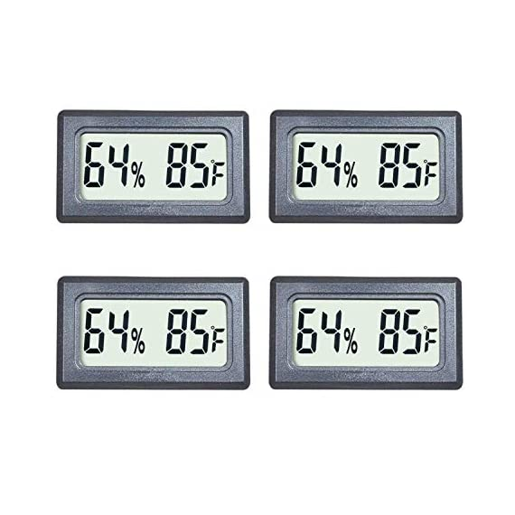 Veanic 4-pack mini digital thermometer hygrometer meters gauge indoor large number display temperature fahrenheit… 1 mini digital humidity thermometer allows you to easily know the environment temperature and humidity around you 2in1 meter with built-in probe; digital electronic thermometer and hygrometer for measuring temperature and humidity for indoor use fahrenheit (℉) display, this thermometer displays temperature in fahrenheit