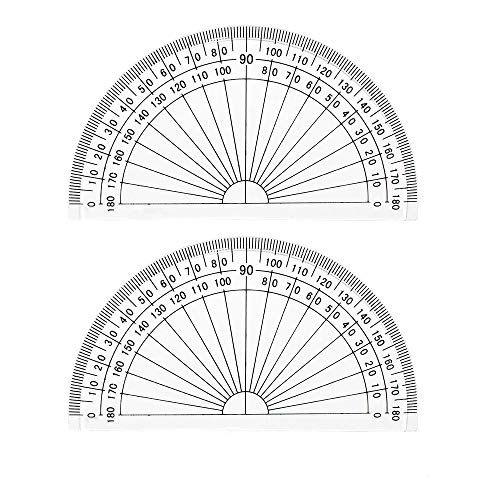 Leline's Plastic Protractor 180 Degree, Student Math Protractors 4 inches Long, Clear (2)