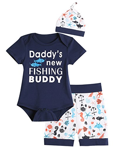 3PCS Baby Boys Daddys New Fishing Buddy Outfit Set Short Sleeve Bodysuit (0-3 Months) Blue