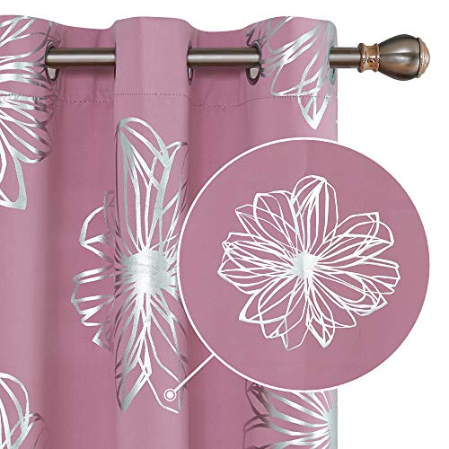 Deconovo Foil Print Floral Thermal Insulated Window Blackout Curtains for Bedroom 42x63 Inch Sweet Pink 1 Pair