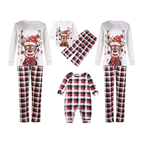 Familia Navidad a Juego Recién Nacido Bebé Niños Mamá Papá Pijamas de Manga Larga Ropa de Dormir roja Ropa de Conjuntos de Ropa de casa (Conjuntos a Juego de Pijamas navideños Familiares, Padre(XL))