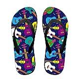 Iop 90p Sandalias Hawaianas Coloridas para Ukelele, PVC, Negro, Medium