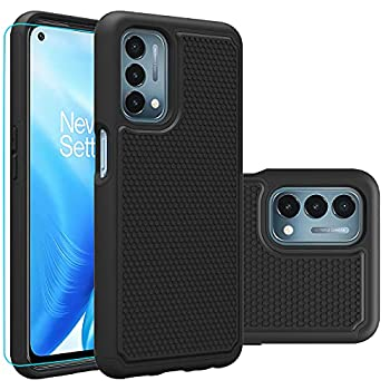 OnePlus Nord N200 5G Case 1+ Nord N200 5G case with HD Screen Protector,Giner Dual Layer Military-Grade Defender Protective Phone Case Cover for OnePlus Nord N200 5G  2021   Black Armor
