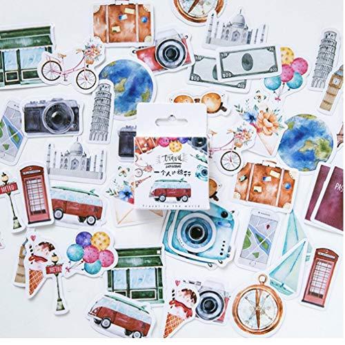 Zonster 46pcs / Pack Eine Person Reise dekorative Aufkleber Adhesive Aufkleber DIY Dekoration Tagebuch Sticker Kinder Geschenk