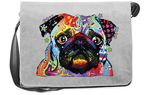 Mops Motiv Canvas Tasche - Hunde Umhängetasche : Pug - Freizeittasche Hunde Neon Motiv