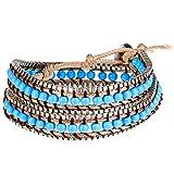 Morella Damen Wickelarmband mit Metallkettchen - hellblau