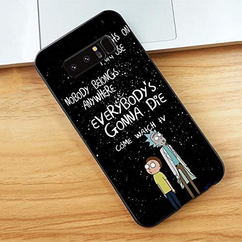 (Rick-Morty) Fundas Soft Liquid Protector Black Galaxy Case Cover-for Samsung S10 Plus-14