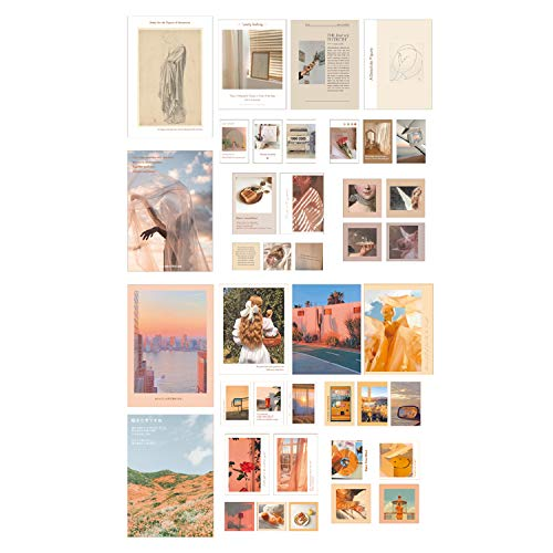 Wall Collage Kit Aesthetic Art Pictures Small Posters Prints for Bedroom Dorm Decor, Include 48pcs Self-adhesive Dots(Set of 40)