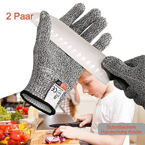 2 Paar Schnittsichere Handschuhe Kinder, schnittfeste Handschuhe mit Stufe 5 Schutz, schnittschutz Handschuhe küche, küchenhandschuhe schnittfest EN 388 Zertifiziert