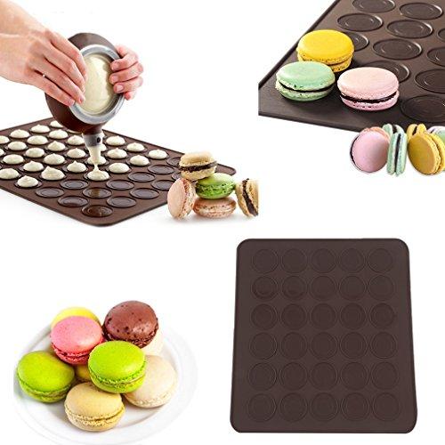 FairytaleMM, Tappetino in silicone grande per 30 macaron/muffin, stampo per dolci e torte