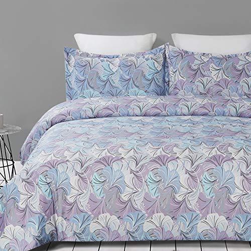 Vaulia Soft Microfiber Duvet Cover Set, Gingko Leaves Printed Pattern Design King Size, Blue/Violet Color, 3-Piece Set