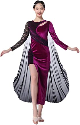 LXYFMS Belly Dance Practice Clothes Female Adult Dress Beginner Autumn And Winter Practice Clothes (color   Purple, Size   L)