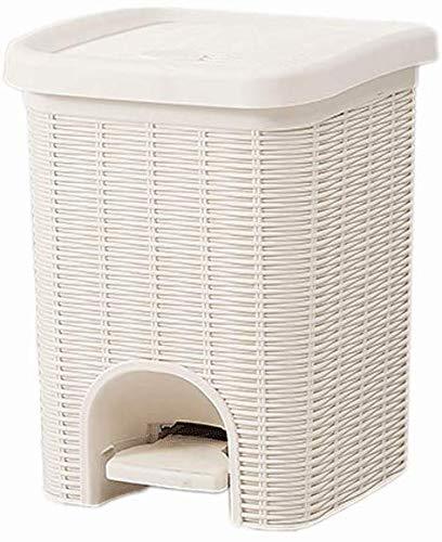 WYJW Rechthoekige plastic vuilnisbak als pedaal, baduitvoering met wastafel, demper met deksel, vuilnisbak (kleur: bruin, afmeting: 6L)