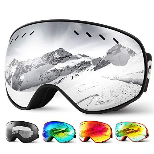 Glymnis Maschera da Sci Occhiali da Sci OTG Super-grandangolo Occhiali da Snowboard e Staccabile Lenti Antiappannamento Antivento di Protezione UV400 per Uomo e Donna (Argento-Lente Mercurio)