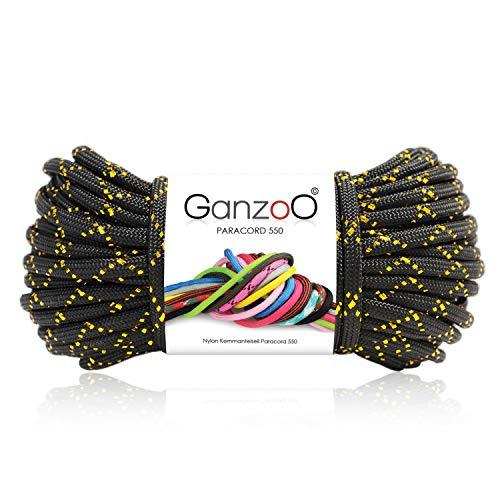 Ganzoo Paracord 550 Corde pailletée pour Bracelet, Laisse et Collier en Nylon 30 m Noir/doré