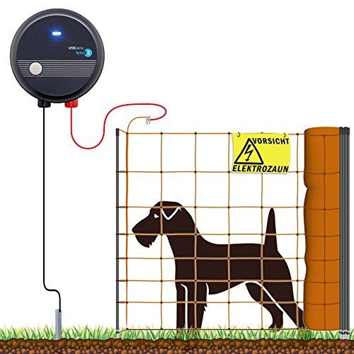 VOSS.farming 50m Hundezaun Komplettset Orange für kleine Hunde, Weidezaungerät Elektronetz Erdanschlussset Warnschild Reparaturset, Garten Hütesicherheit Elektrozaun Hundezaun Hund