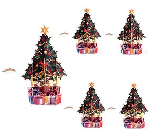 Paper Spiritz クリスマスカードポップアップ、3D クリスマスカード 立体 和風 セット、Christmas Card