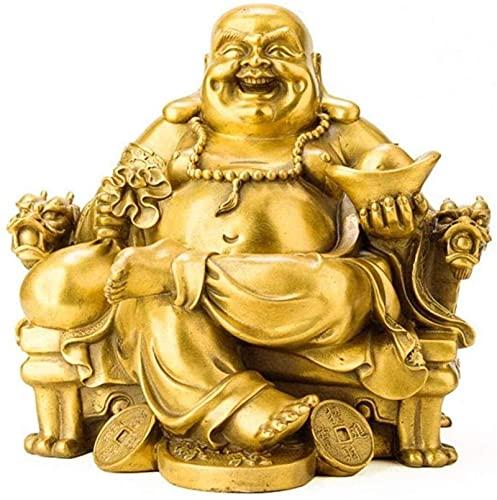 Cobre Maitreya Riendo Buda Estatua Ornamento Dragón Silla Oficina Sala De Estar Estudio Dormitorio Escritorio MUMUJIN (Size : 12X11X13CM)