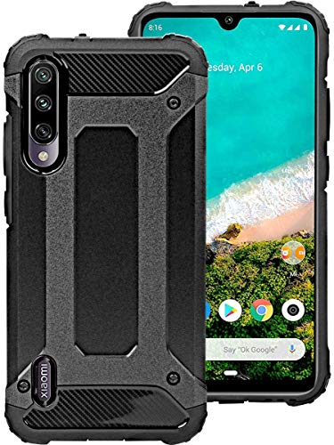 Funda para Xiaomi Mi A3 + Cristal Templado, Weideworld Robusta Armadura Híbrida TPU + PC [Doble Capa] Carcasa de Protección Hibrida Armadura Funda para Xiaomi Mi A3, Negro