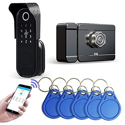 Wolf Guard TT01 Rain Proof Smart Lock,WIFI Door Lock 5 in 1 Fingerprint Password APP, Support Alexa & Google Assistant for Door Security