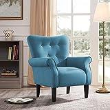 Belleze Modern Accent Chair Roll Arm Linen Living Room Bedroom w/Wood Leg (Baby Blue)