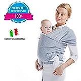 MAMACADABRA Fascia neonato in cotone - Fascia porta bambino Baby Wrap per neonati e bambini fino ai 2 anni - Fascia porta bebe per avere il tuo bambino vicino al cuore(LIGHT GRAY)
