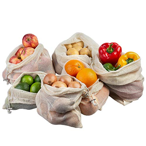 ECENCE Set de 6 Bolsas para Fruta y verdura Bolsas de Red de
