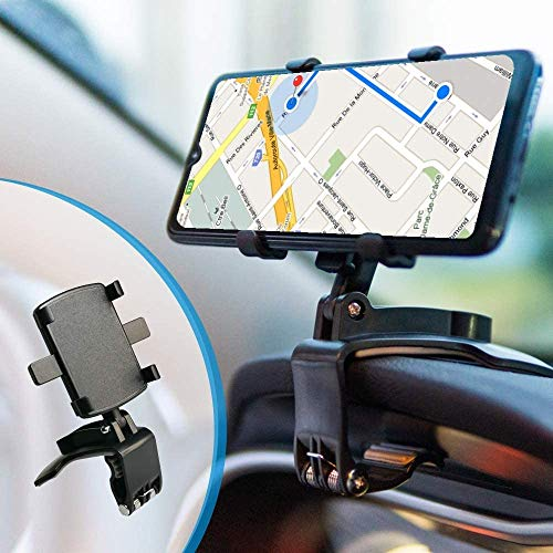BEENLE Supporto Multifunzione per Cruscotto Auto Specchietto Retrovisore con Clip a Molla Regolabile a 360°, Adatto per Smartphone da 4 a 7 Pollici