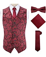 Burgundy Vest and Tie Casual for Men Burgundy Tie and Vest for Men,Red,3XL