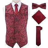 Mens Burgundy Dress Vest Paisley Polyester Terylene Fused Suit Waistcoats,Red,2XL