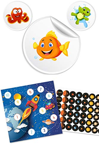 Potchentraining + beloningssets met 8 toiletten stickers onderwaterdieren + beloningssysteem ruimte met grote stickers