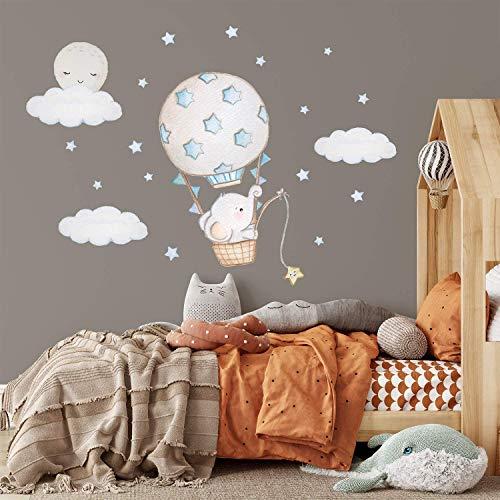 KidsCuteDecorations Elefant Sticker Babyzimmer Wandsticker Junge Blau | Kinderzimmer Wandaufkleber Jungen | Heißluftballon Wandtattoos Mädchen Rosa | Wandtattoo Sterne Gold | Luftballon Wanddeko Tiere