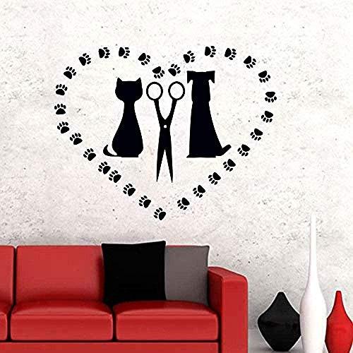 Etiqueta de la pared de dibujos animados perro huella gato perro mascota Diy vinilo extraíble arte sala de estar dormitorio de los niños decoración del hogar 45X58cm