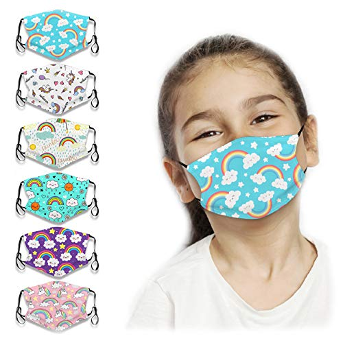 Kids Reusable Face Bandanas Cute Cartoon Unicorn Pattern Breathable Cloth Face Covering with Adjustable Ear Loops for Children UV Protection-6 Pack