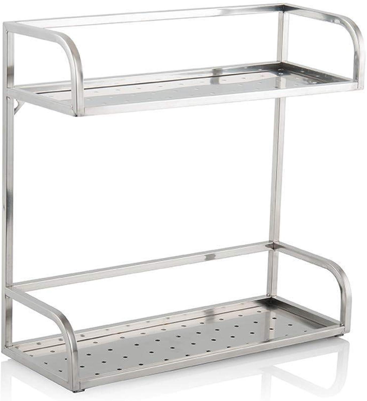 Storage Rack- Stainless Steel Seasoning Shelf Kitchen Household Countertop Two-Layer Condiment Storage Rack ZXMDMZ (Size   50CM)