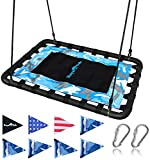 Giant Platform Tree Swing, 700 lb Weight Capacity, Durable Steel Frame, Waterproof, Adjustable Ropes, Flag Set and 2 Carabiners, Non-Stop Fun for Kids!