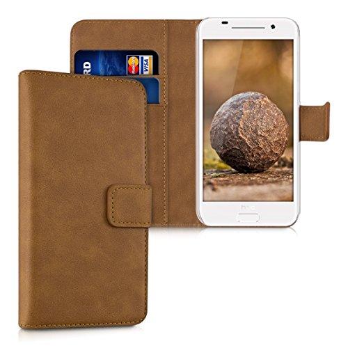 kwmobile HTC One A9 Hülle - Kunstleder Wallet Case für HTC One A9 mit Kartenfächern & Stand - Cognac
