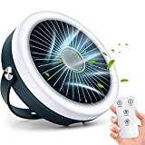 Karjoefar Desk Fan, USB Rechargeable Portable Fan with Remote Control 3 Speed Settings, 4000mAh Camping Fan with Adjustable Ring LED Lights for Bedroom, Home, Dorm, Office