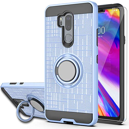 LG G7 ThinQ Phone Case,LG G7 Cases with HD Phone Screen Protector,Ymhxcy 360 Degree Rotating Ring & Bracket Dual Layer Resistant Back Cover for LG G7 2018-ZH Metal Slate