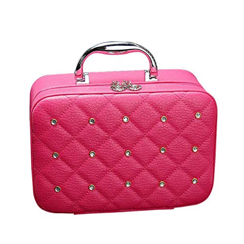 Trousse de Toilette Cosmetic Case Rivet Rhinestone Makeup Box Professional Tote Cosmetic Bag Beauty Case for Beignners