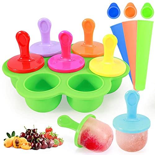 ZWWZ Moldes antiadherentes para Polos de Hielo para bebés de Silicona con Varillas de plástico de Colores,Molde para paletas de Hielo de 7 cavidades DIY y moldes para paletas de 3 Piezas