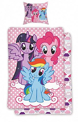 My little Pony Bettwäsche Set Pink Rosa 2tlg Wendeoptik 100% Baumwolle Gepunktet Kinder Pferde Design, Größe:135x200 cm + 80x80 cm