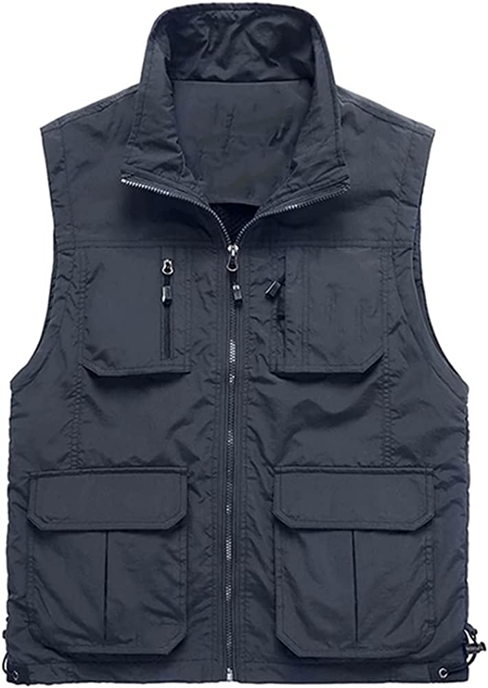 Summer Spring Mesh Thin Multi Vest for Male Male Casual Sleeveless