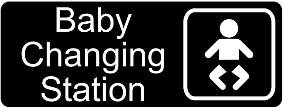 Baby Changing Station Sign, 8x3 in. Engraved Plastic, White on Black for Restrooms by ComplianceSigns